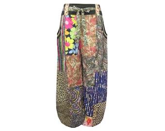 Boho Hippie Tie Waist Pocket-Side Patchwork Elastic Leg Opening Long Cotton Pants (P0132)