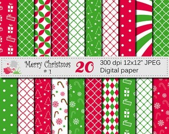 SALE 50% Merry Christmas Digital Paper Set, Christmas Digital papers, Christmas Tree Digital Papers, Red Green Scrapbook Papers, Download