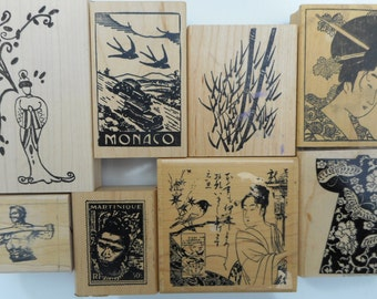 8 Gently Used Vintage Various Rubber Stamps, Free Shipping