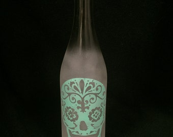 Turquoise Sugar Skull Sandblasted Bottle
