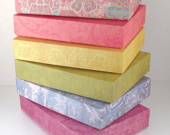 "Gift Box, Favor Box, Folded Craft Paper Assorted Colors/Patterns 6"" X 4.5"" X 1"""