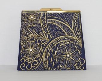 Blue Dupioni Silk Clutch - Embroidered Clutch, Evening Clutch
