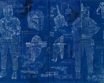 Boba Fett Star Wars Poster Blueprint (A2 = 420mm*594 or 16.5' * 23.4')