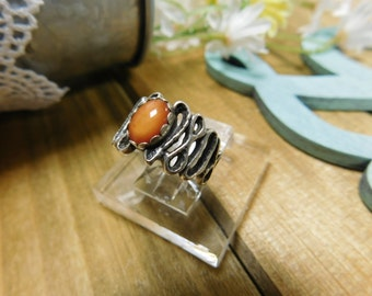 Pretty Sterling Silver Ring With Orange Stone