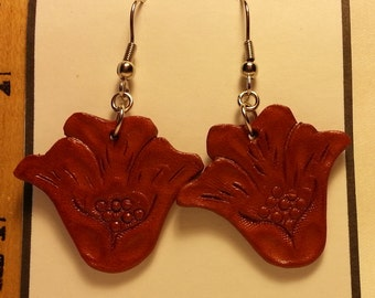Hand Tooled Leather Flower Earrings