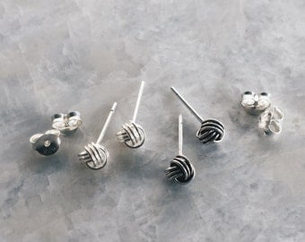 Sterling silver floss ball ear studs set, Ball ear studs set, Silver ball earrings, Round silver studs, Cartilage stud (ES236)