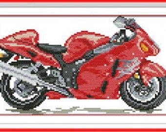 Cross Stitch Kit Red motorcycle