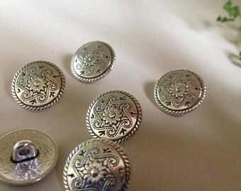 8 Psc Zinc metal alloy Shank Button Metal Buttons Round Antique Silver (131)