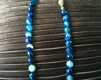 Faceted Blue Agate Beads Necklace