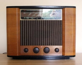 Vintage Working Radio Ferranti Wooden Furniture LW MW SW 1950s Antique
