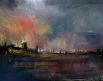 Inferno reflected in the night sky, Limited Edition (1 of 50) Signed by artist