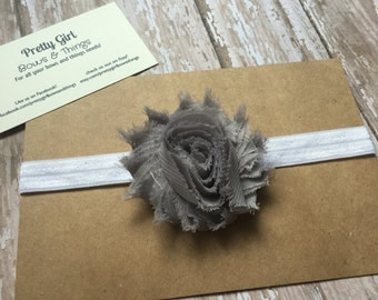 Grey shabby flower headband