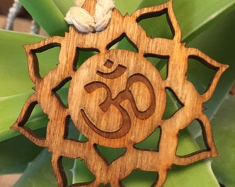 Wooden Lotus Om Pendant