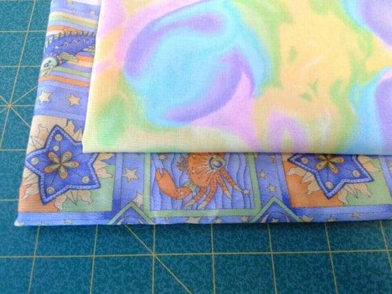 Psychedelic fat quarter bundle set of 2 astrology fabric for Astrology fabric