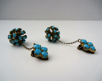 Beautiful earrings in gold metal, pendant, closing with blue ornaments
