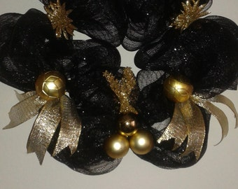 Black and Gold Christmas Wreath