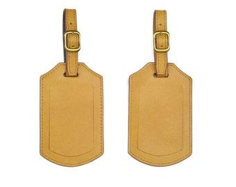 Set of 2 Handmade Genuine Leather Travel ID Luggage Tags