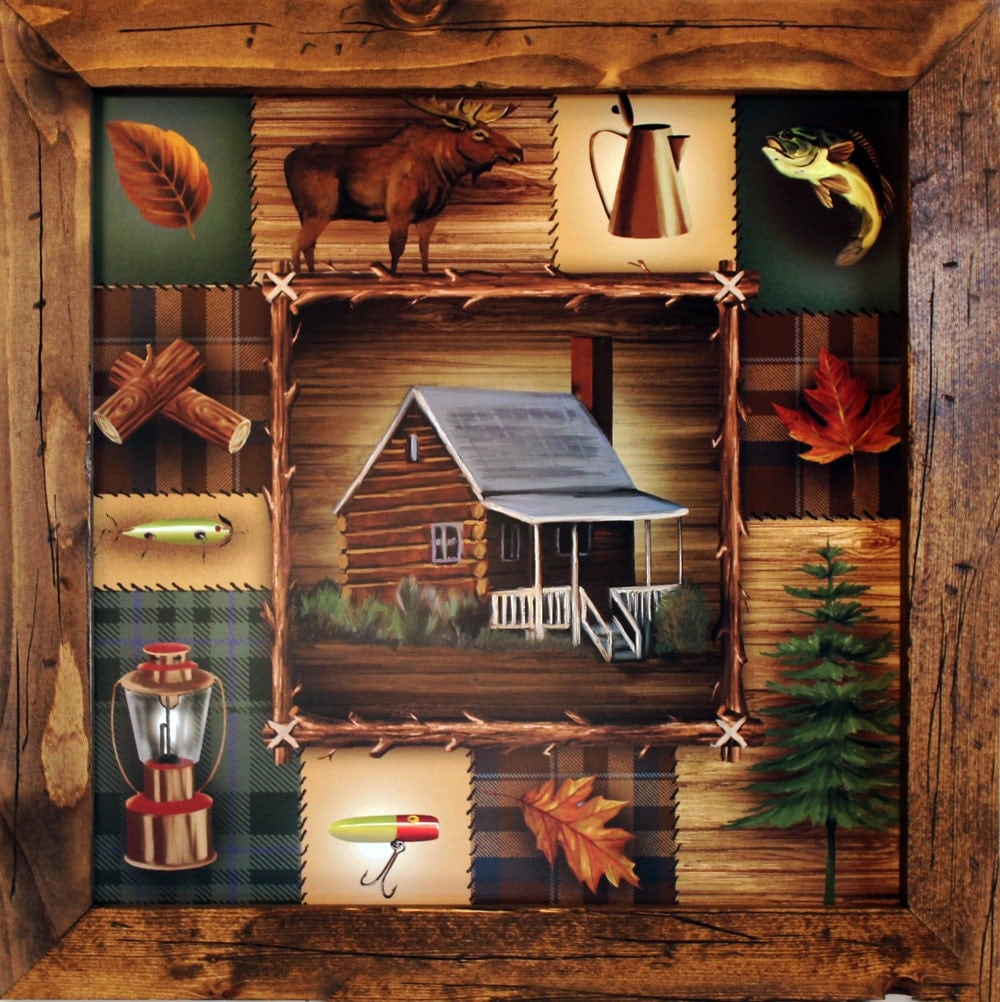 Lodge decor cabin decor 21x21 cabin wall by for Cabin decor