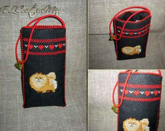 "Cross Stitched Phone Case ""Pomeranian"""