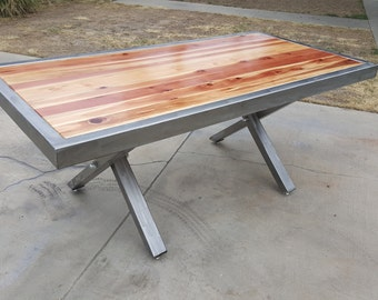 One of a kind custom wood/steel dining table