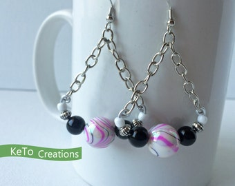 Earrings, Chandelier Style Earrings, Pink Black And White Earrings, Silver Chain And Bead Earrings