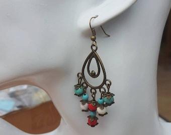 Ethnic earrings, bohemian earrings, earrings Boho, turquoise jewelry, tribal earrings, bronze long earrings, earrings chandelier