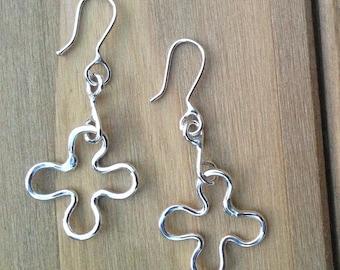 Sterling silver flower earrings, Dangle flower earrings with connector, Hancrafted silver earrings, Flower earrings, Silver earrings