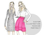 Custom Couple Portrait, Best Friend, BFF, Custom Fashion Illustration, Custom Fashion Art, Custom Gift, Digital File, Custom Illustration