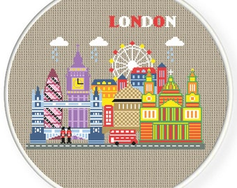 Buy 2 get 1 free. Magical London - Modern Cross Stitch Pattern.  INSTANT DOWNLOAD