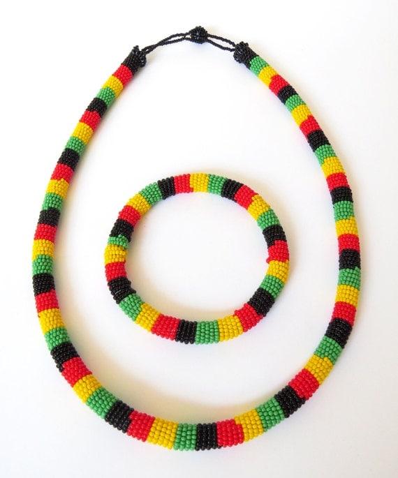 zulu beaded necklace and bracelet set rasta