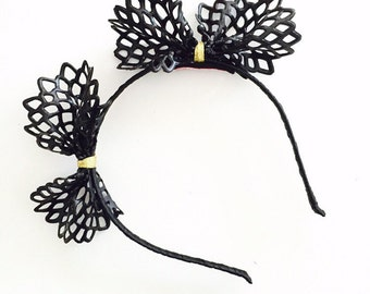 JIFFY: black lasercut crown / fascinator
