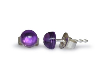 Amethyst earrings, of course, flat round, 5 mm, 925 Silver