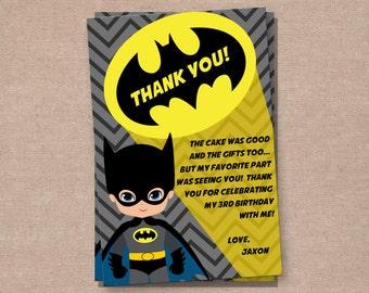Batman Thank You Card - Batman - Batman Birthday - Batman Party - Boys Birthday Invitations - Batman Printable - Superhero