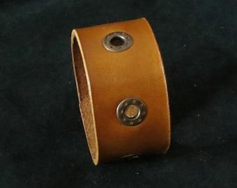 Submarine - Honey Leather Bracelet Leather Cuff Leather Wristband Unisex with Eyelets