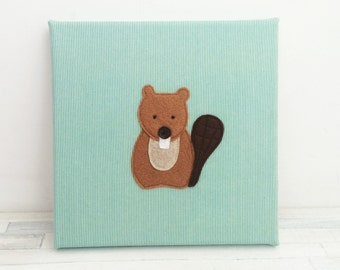 Beaver woodland canvas, woodland nursery, wilderness nursery, woodland creature, nursery art, nursery playroom decoration, cute woodland