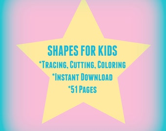 Prewriting Worksheets for Preschoolers / Polygons / Shape Cutouts / Tracing Shapes Worksheets / Colors and Shapes / Shapes Instant Download