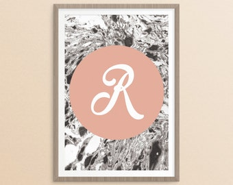 Personalised Name Print, Personalised Gift, Marble Print, Letter Print, Wall Art, Home Decor