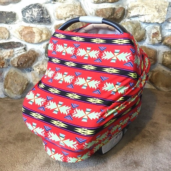 Stretchy Car Seat Cover Multi Use Cover Red Aztec By