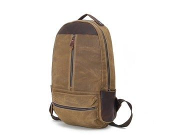 Vintage Style Leather Canvas Backpack  (Khaki)