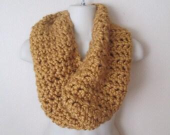 Mustard Yellow Goldenrod Handmade Chunky Crochet Knit Cowl Infinity Circle Scarf