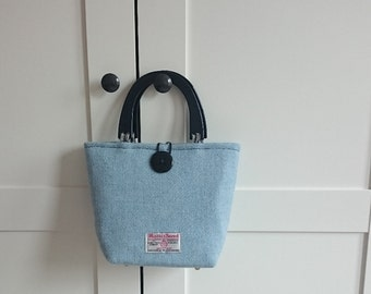 Harris Tweed Blue Handbag with Black Handles