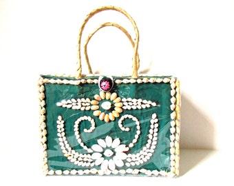 Vintage Box Purse with Shell Design 1960s Tropical Pocketbook, Folk Art Custom Hand Made Bag OOAK, Mid Century Resort Chic Staw Handled