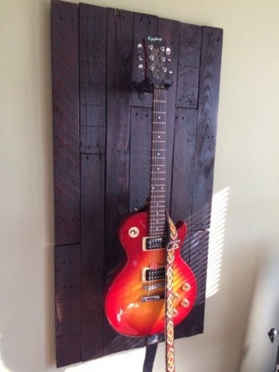 guitar wall display rack made from up cycled wood. Black Bedroom Furniture Sets. Home Design Ideas