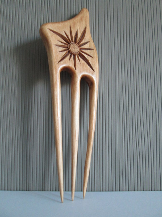 Hair fork carved chip carving chipcarving wooden