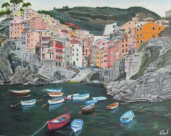 Acrylic painting of the Cinque Terre 35 x 45