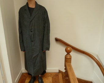 1950s workwear chambray architect's overcoat, french vintage deadstock,
