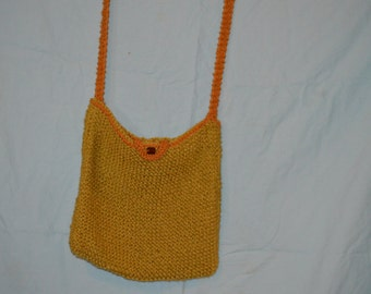 Handmade organic cotton knitted tote bag