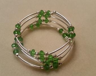 Green Bead Memory Wire Bracelet