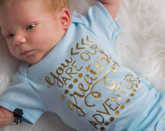 Boy greatest adventure baby take home outfit blue and gold, baby boy take home outfit, newborn boy hospital outfit, baby boy shower gift