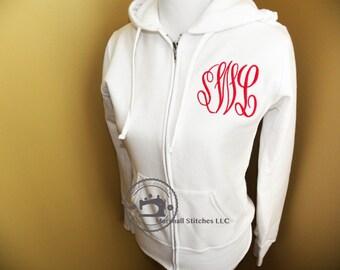 Women's  Monogramed Full Zip Up Hooded Sweatshirt / Junior Monogramed Full Zip Up Hooded Sweatshirt